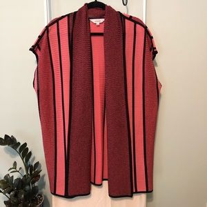 Misook Striped Rib-Knit Relaxed Cardigan Sweater